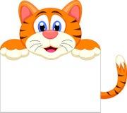 与空白的标志的逗人喜爱的老虎动画片 库存照片