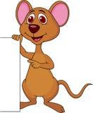与空白的标志的逗人喜爱的老鼠动画片 免版税库存图片