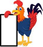 与空白的标志的雄鸡动画片 免版税库存照片