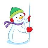 与空白的标志的雪人 免版税库存图片