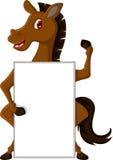与空白的标志的马动画片 库存图片