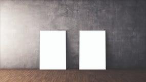 与空白的框架大模型的白色海报 免版税库存图片