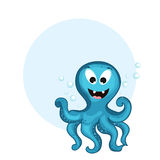 与空白的框架的滑稽的动画片章鱼概念 免版税库存图片