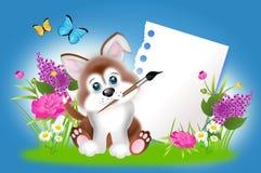 与空白的纸片的逗人喜爱的小狗在春天之间的开花 向量例证