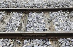 与空白的老铁路联轨点 免版税图库摄影