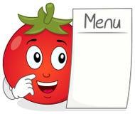 与空白的菜单的动画片快乐的蕃茄 免版税图库摄影