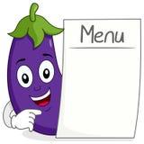 与空白的菜单的逗人喜爱的茄子字符 库存照片