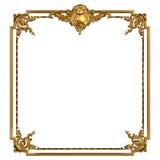 与空白的葡萄酒金黄框架 库存照片