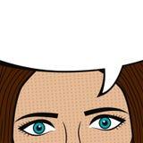 与空白的讲话泡影的女孩面孔文本的 美好的关闭注视面朝上的妇女 漫画书页设计  在流行艺术样式的动画片剪影 向量 皇族释放例证