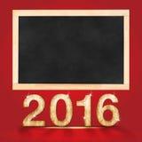 与空白的黑板的新年好2016年在红色演播室室, moc 库存例证