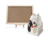 与空白的黄柏板的婚宴喜饼 库存照片