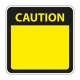 与空白的黄色小心标志 免版税图库摄影