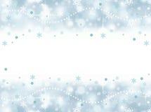 冻与空白的水色蓝色雪花党背景 免版税库存图片