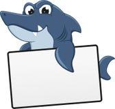 与空白符号的恼怒的鲨鱼 库存图片
