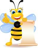 与空白符号的愉快的蜂动画片 免版税库存图片