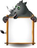 与空白符号的滑稽的犀牛 库存图片