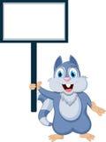 与空白符号的灰鼠动画片 免版税库存图片