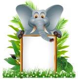 与空白符号的逗人喜爱的大象 免版税库存照片