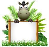 与空白符号的逗人喜爱的斑马动画片 库存图片