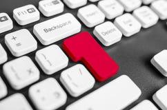 与空白红色按钮的关键董事会 免版税库存照片