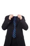 与空白董事会的新生意人在他的表面 库存照片