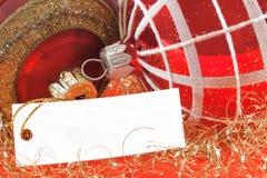 与空白附注的圣诞节球文本的 库存图片