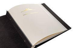 与空白页的被打开的书和文本的装饰框架 免版税图库摄影