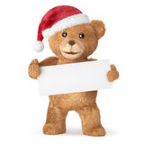 与空的卡片的玩具熊 库存图片