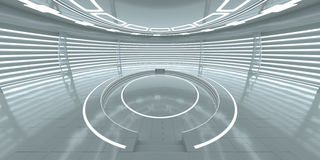 与空的发光的指挥台的未来派内部 免版税图库摄影