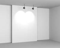 与空的服务台和闪亮指示的画廊空白内部 皇族释放例证