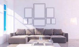 与空的框架的现代明亮的内部 回报3D例证室,斯堪的纳维亚人,沙发,空间的3D,墙壁,白色 库存例证