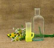 与空的瓶、玻璃和花的静物画 免版税库存照片
