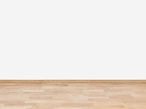 有木地板的空的白色墙壁 库存照片