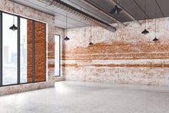 与空的砖墙的内部 库存例证