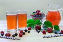 与空的空间的新鲜的莓果蜜饯文本的 免版税库存图片