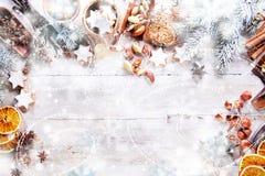 与空的空间的白色圣诞节背景 免版税图库摄影