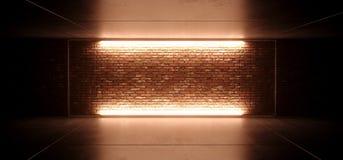 与空的被点燃的橙黄色毛玻璃框架的霓虹发光的被带领的科学幻想小说未来派减速火箭的俱乐部阶段在难看的东西砖墙上 皇族释放例证