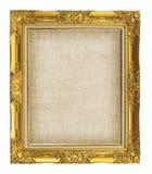 与空的难看的东西亚麻帆布的老金黄框架您的图片的 免版税库存图片