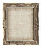 与空的难看的东西亚麻帆布的老金黄框架您的图片的 免版税库存照片
