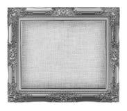 与空的难看的东西亚麻帆布的老银色框架您的图片的 免版税库存照片
