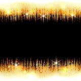与空的黑空间的金黄明亮的马赛克亮光框架文本的,传染媒介背景 免版税库存图片