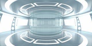 与空的玻璃陈列室的未来派内部 免版税图库摄影