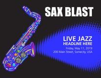 与空间的五颜六色的爵士乐萨克斯管海报文本的 图库摄影
