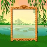 与空间的夏天剪影您的在树和池塘背景的文本的在公园 贺卡样品,欢乐 库存例证