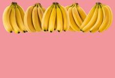 与空间的很多成熟香蕉束在玫瑰背景的文本的 健康食物的概念 免版税图库摄影