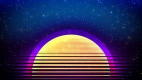 与空间,太阳,数据和技术概念的线的摘要技术未来派背景与虚拟现实作用 向量例证