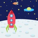 与空间、火箭、月亮和飞碟的彩色插图 做在动画片样式 库存照片