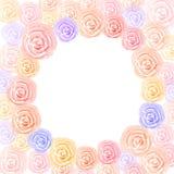 与空间圈子的淡色五颜六色的玫瑰水彩 免版税库存照片