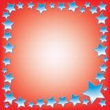与空间的抽象蓝星在红色背景的文本的 库存图片