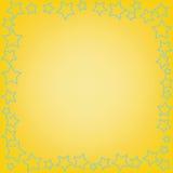 与空间的抽象蓝星在黄色背景的文本的 库存照片